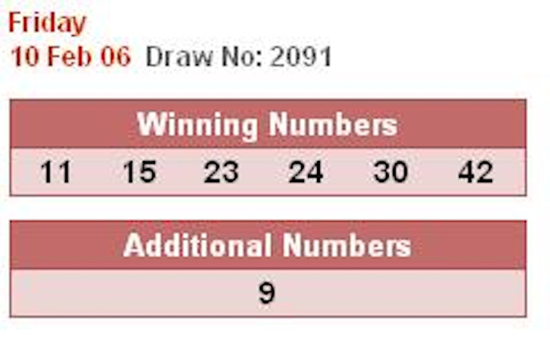 OT : 10 FEB 2006 TOTO ANG BAO GRAND PRIZE $10,000,000